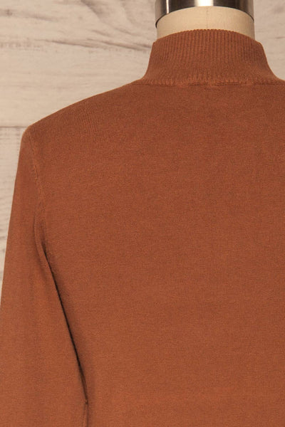 Kuznia Rust Long Sleeve Mock Neck Top | La petite garçonne back close up