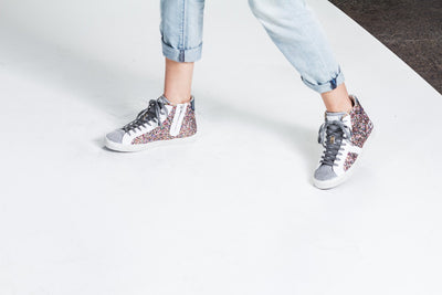 Kissamos - Colourful sequins laced high-top sneakers on model