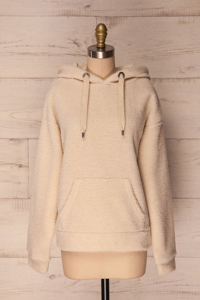 Labin Ivory Wooly Fleece Sweater with Hood | La Petite Garçonne 1