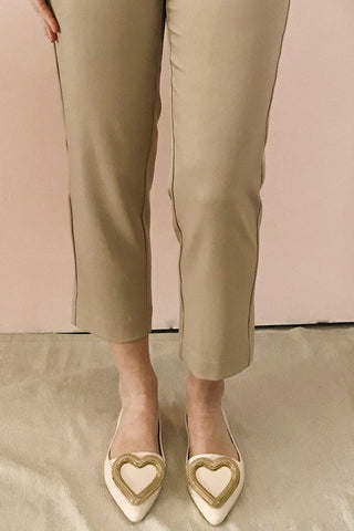 Lacaze Beige Slip-On Loafers with Heart | Boutique 1861 on model 2