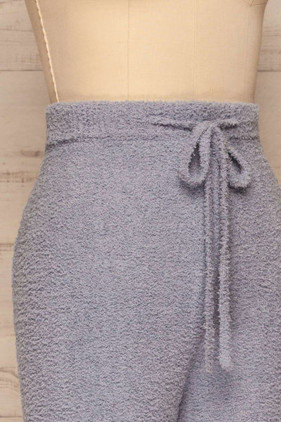 Ladek Blue Fuzzy Joggers w/ Drawstring | La petite garçonne  side close up