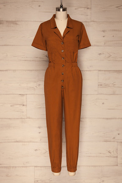 Ladispoli Brown Button-Up Jumpsuit | La Petite Garçonne front view