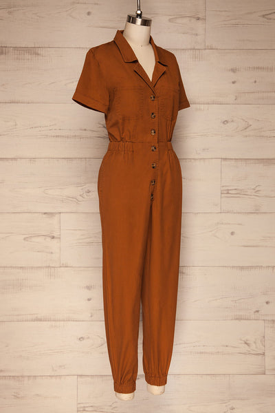Ladispoli Brown Button-Up Jumpsuit | La Petite Garçonne side view