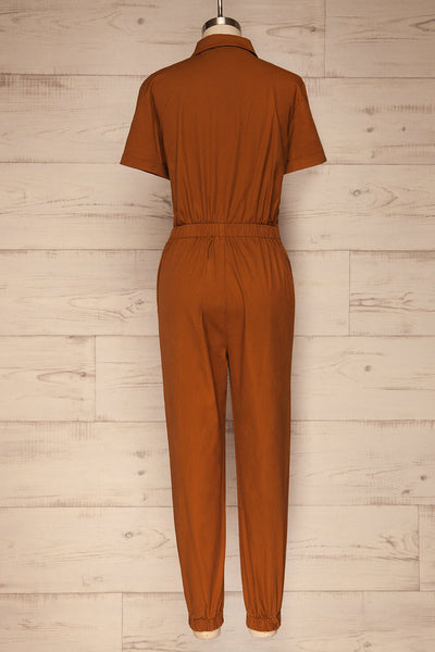 Ladispoli Brown Button-Up Jumpsuit | La Petite Garçonne back view