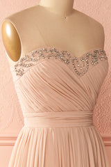 Laédanne Dusty Pink Pleated Gown with Crystals | Boutique 1861