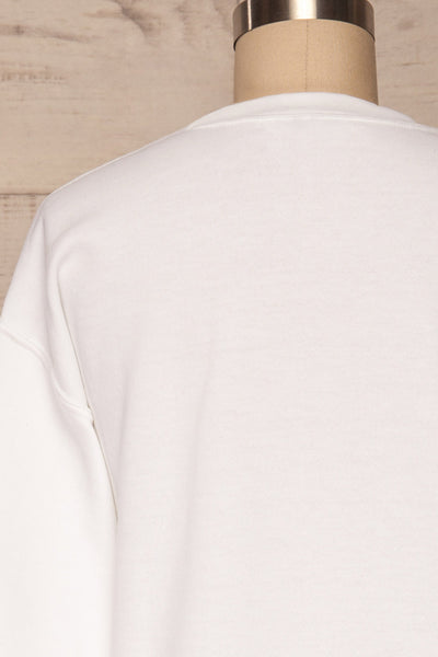 Lagoa White Crew Neck Sweatshirt | La petite garçonne back close up