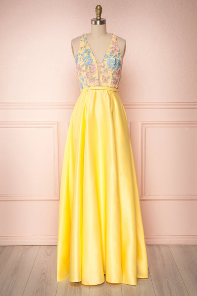 Laiza Citron Yellow Floral A-Line Maxi Gown | Boutique 1861
