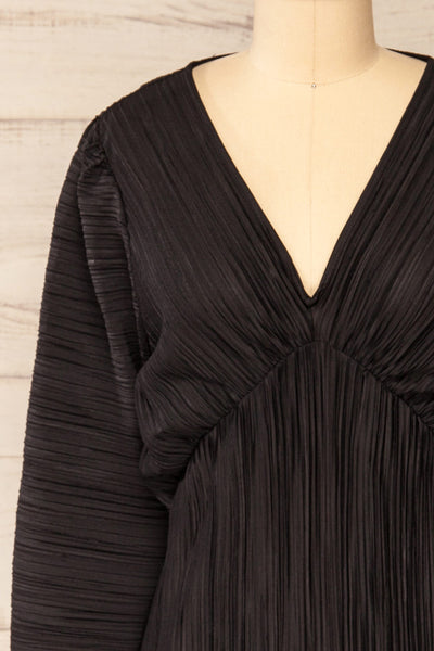 Lamia Black Long Sleeve V-Neck Midi Dress | La petite garçonne front close-up