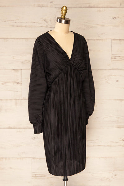 Lamia Black Long Sleeve V-Neck Midi Dress | La petite garçonne side view