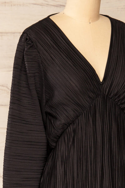 Lamia Black Long Sleeve V-Neck Midi Dress | La petite garçonne side close-up