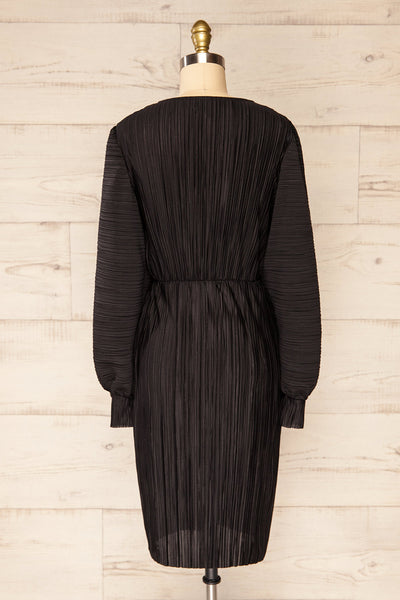 Lamia Black Long Sleeve V-Neck Midi Dress | La petite garçonne back view