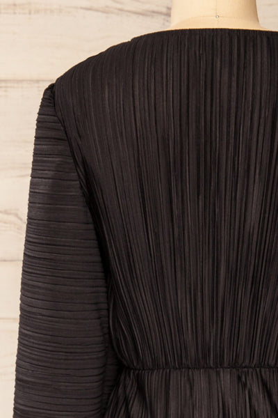 Lamia Black Long Sleeve V-Neck Midi Dress | La petite garçonne back close-up
