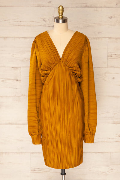 Lamia Mustard Long Sleeve V-Neck Midi Dress | La petite garçonne front view