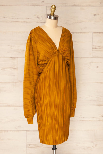 Lamia Mustard Long Sleeve V-Neck Midi Dress | La petite garçonne side view