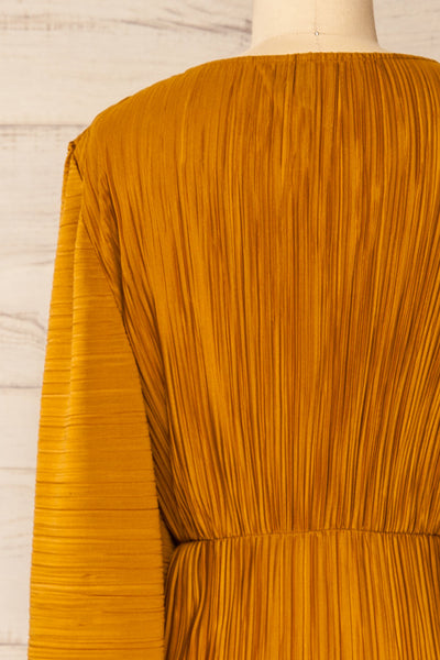 Lamia Mustard Long Sleeve V-Neck Midi Dress | La petite garçonne back close-up
