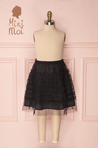 Lamiss Mini Black Ruffled Tulle Kid's Skirt | Boutique 1861