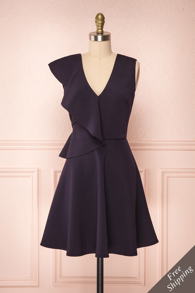 Lantaa Navy Blue Ted Baker A-Line Cocktail Dress  | FRONT VIEW | Boutique 1861