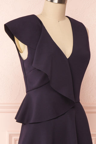 Lantaa Navy Blue Ted Baker A-Line Cocktail Dress | SIDE CLOSE UP | Boutique 1861