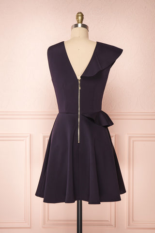 Lantaa Navy Blue Ted Baker A-Line Cocktail Dress  |  BACK VIEW | Boutique 1861