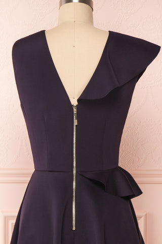 Lantaa Navy Blue Ted Baker A-Line Cocktail Dress  | BACK CLOSE UP | Boutique 1861
