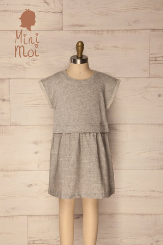 Lapela Mini Grey Kids Baby Doll Dress | La Petite Garçonne