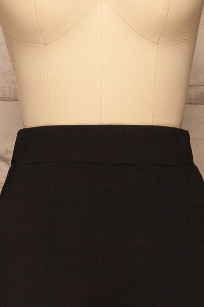Lara Black Straight Leg Pants | La petite garçonne  front close-up