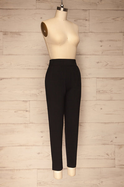 Lara Black Straight Leg Pants | La petite garçonne  side view