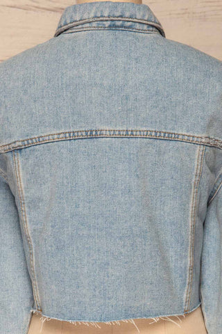 Lariano Crop Jean Jacket | Veston Denim | La Petite Garçonne back close-up