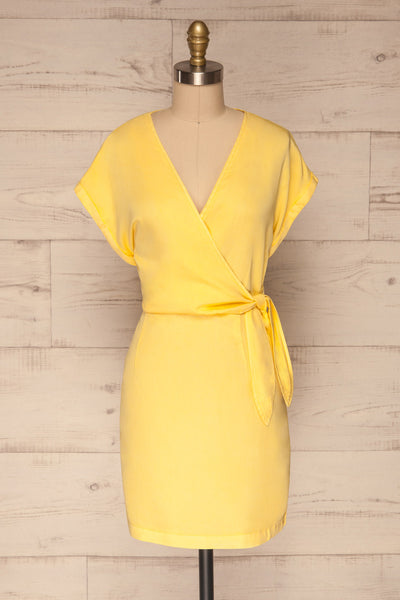 Larino Yellow Short Sleeve Faux-Wrap Dress | La petite garçonne front view