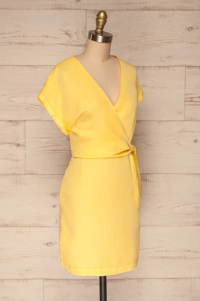 Larino Yellow Short Sleeve Faux-Wrap Dress | La petite garçonne side view