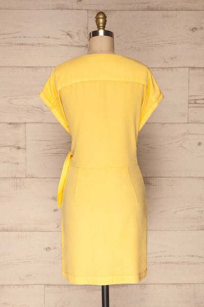 Larino Yellow Short Sleeve Faux-Wrap Dress | La petite garçonne back view