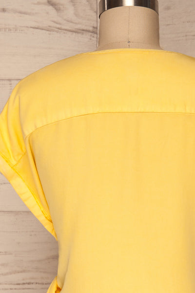 Larino Yellow Short Sleeve Faux-Wrap Dress | La petite garçonne back close up