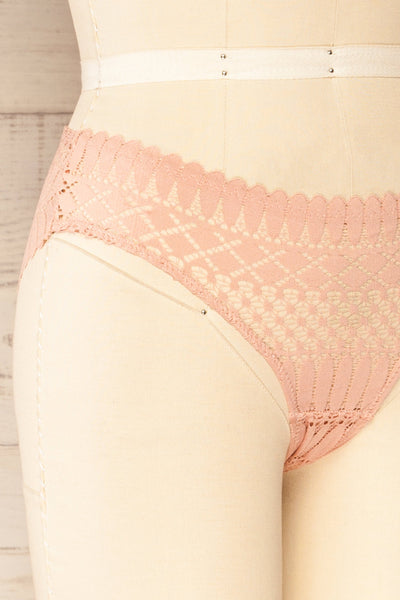 Larvik Pink Lace Bikini Underwear | La petite garçonne side close-up