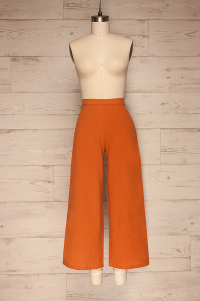Laskowice Orange Wide Straight Leg Pants | La petite garçonne front view