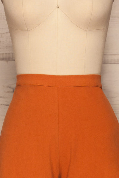 Laskowice Orange Wide Straight Leg Pants | La petite garçonne front close up