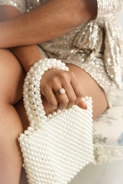 Cajones White Beaded Purse | La Petite Garçonne on model