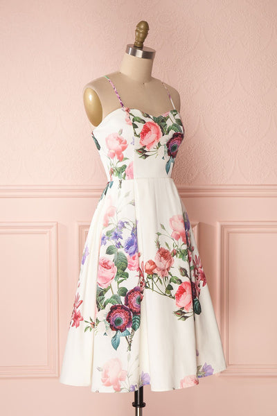 Lauralie White A-Line Cocktail Dress with Floral Print | Boutique 1861