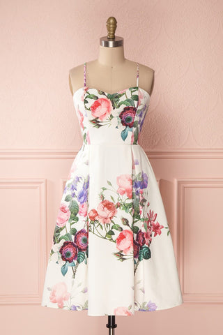 Lauralie White A-Line Cocktail Dress with Floral Print | Boutique 1861 front view