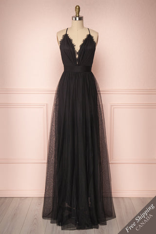 Laycy Réglisse Black Mesh Gown with Plunging Neckline | Boutique 1861