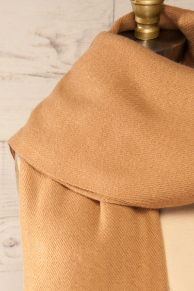 Le Baiser Taupe Soft Knitted Scarf | La petite garçonne wraped close-up