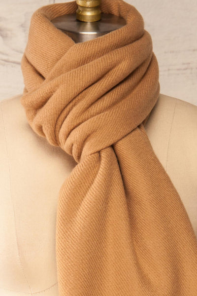 Le Baiser Taupe Soft Knitted Scarf | La petite garçonne cross  close-up