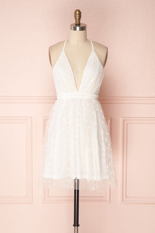 Lenore White Plunging Neckline Patterned Tulle Dress | Boudoir 1861