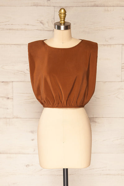 Leon Brown Shoulder Pads Crop Top | La petite garçonne front view