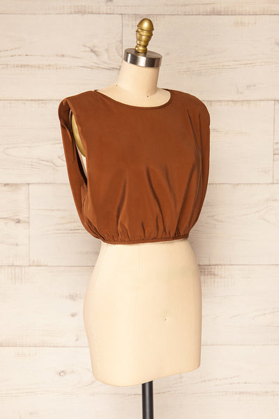 Leon Brown Shoulder Pads Crop Top | La petite garçonne side view