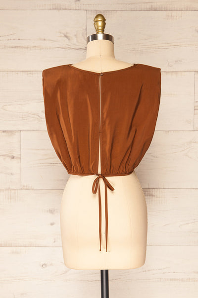 Leon Brown Shoulder Pads Crop Top | La petite garçonne back view