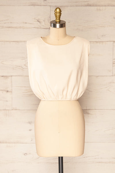Leon Cream Shoulder Pads Crop Top | La petite garçonne front view
