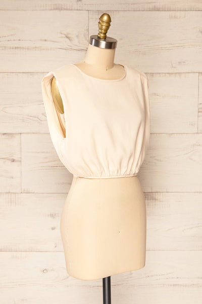 Leon Cream Shoulder Pads Crop Top | La petite garçonne side view