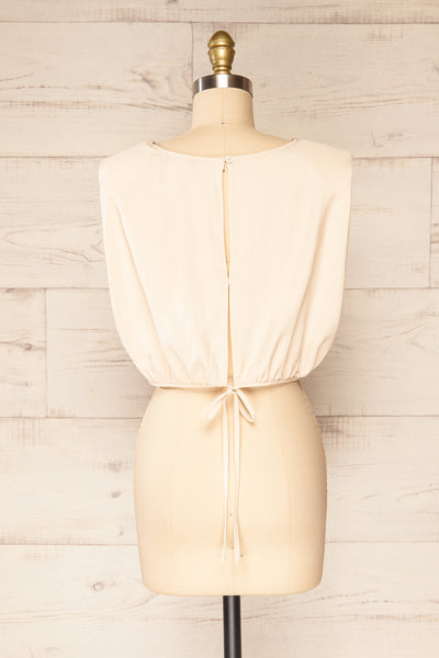 Leon Cream Shoulder Pads Crop Top | La petite garçonne back view