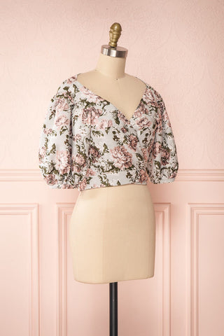 Leonore Floral Crop Top | Haut Écourté side view | Boutique 1861