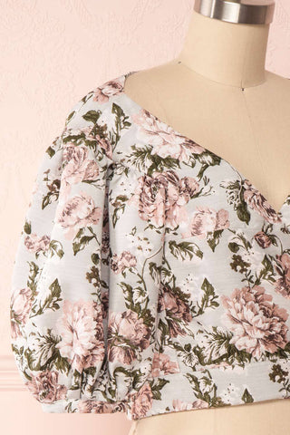 Leonore Floral Crop Top | Haut Écourté side close up | Boutique 1861